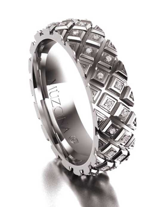 MÜZCINA by JJBückar BX22-H-100-D-OB-XX-18P-PX-65 Palladium, White Gold Wedding Ring