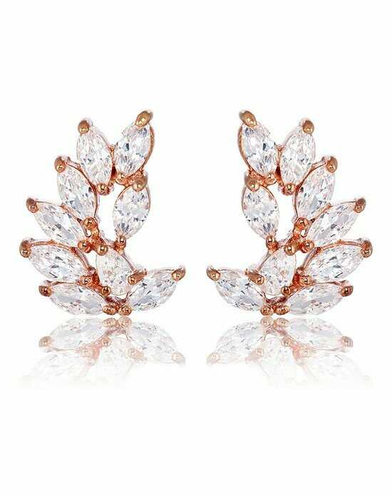 Thomas Laine Rita Rose Gold Marquise Cluster Earrings Wedding Earring photo