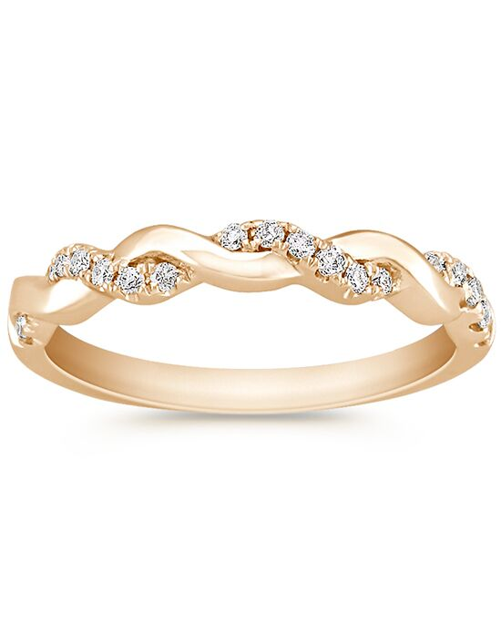 Shane Co. Infinity Diamond and 14k Yellow Gold Infinity Wedding Band Gold Wedding Ring