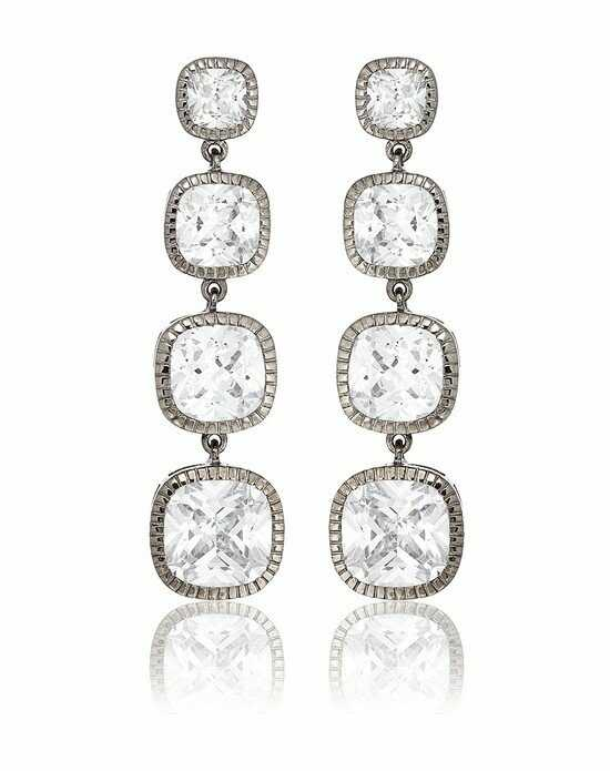 Thomas Laine Lucille Long Drop Earrings - Silver Wedding Earring photo