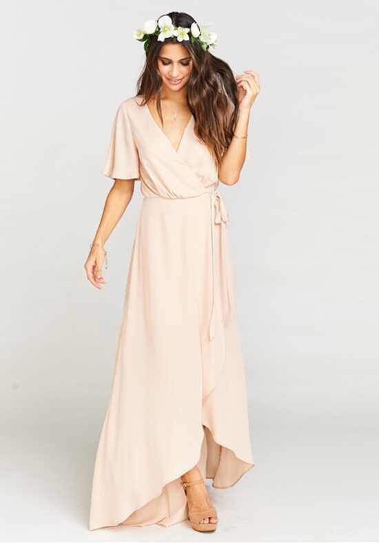 Show Me Your Mumu Sophia Wrap Dress - Dusty Blush Crisp V-Neck Bridesmaid Dress
