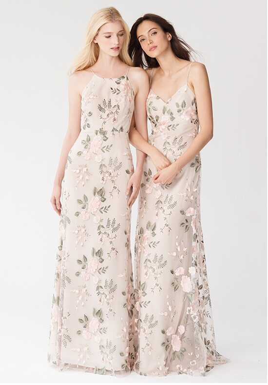 Jenny Yoo Collection (Maids) Claire {Blush Sand Dune} #1765 Bateau Bridesmaid Dress