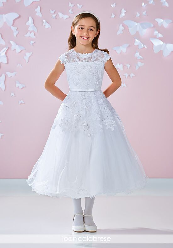 Joan Calabrese by Mon Cheri 117340 White Flower Girl Dress