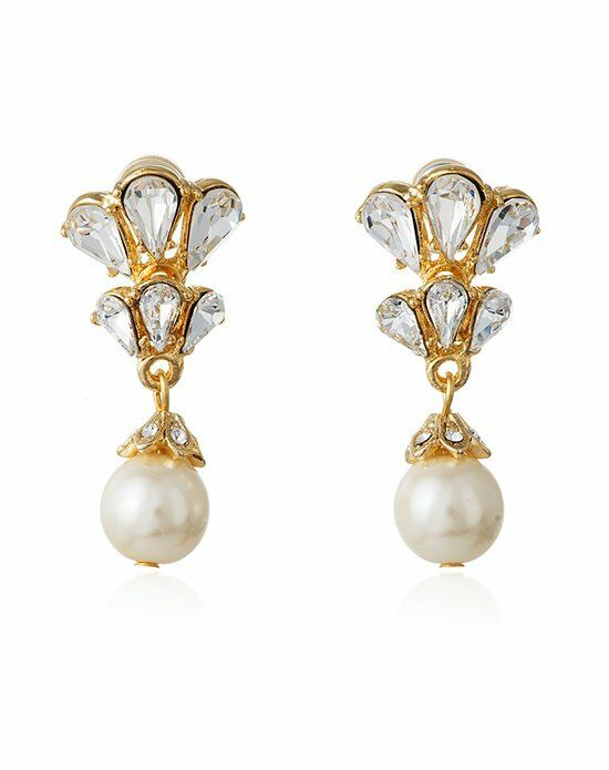 Thomas Laine Ben-Amun Gold Bridal Crystal and Pearl Drop Earring Wedding Earring photo