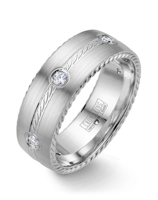 CrownRing WB-001RD8W-M10 White Gold Wedding Ring