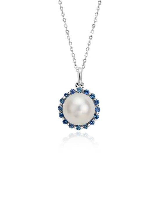 Blue Nile Freshwater Cultured Pearl and Sapphire Pendant Wedding Necklace photo