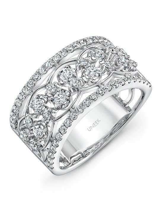 Uneek Fine Jewelry The Rose Garland Open Lace Two-Row Diamond Band/LVBW404W White Gold Wedding Ring