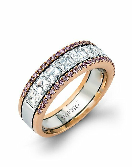 Simon G. Jewelry MR2338 Rose Gold, White Gold Wedding Ring