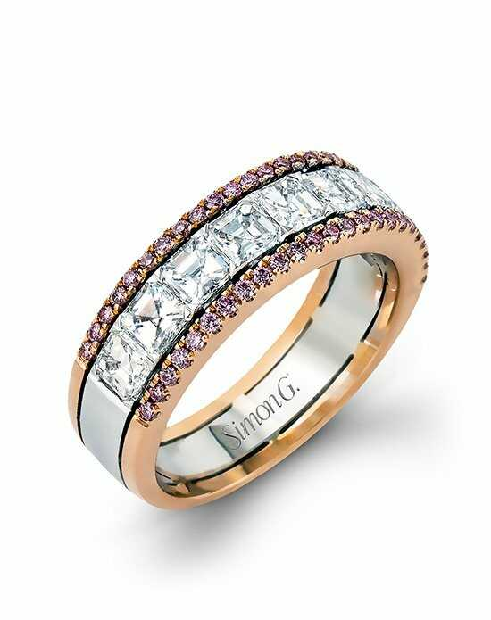 Simon G. Jewelry MR2338 Rose Gold,White Gold Wedding Ring