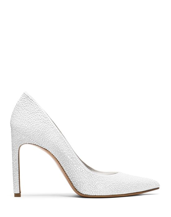 Stuart Weitzman Nouveau Stiletto Bridal Chalk White Pave Crystals White