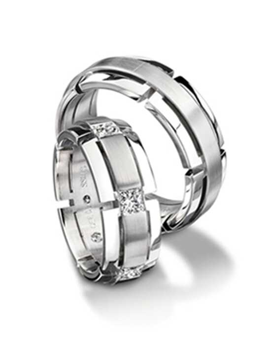 Furrer Jacot Wedding Bands 71-28780 / 71-83780 with one diamond White Gold Wedding Ring