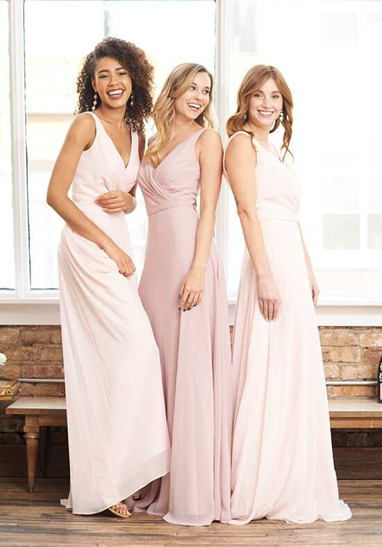 Brideside Rachel in Blush & Frosé V-Neck Bridesmaid Dress