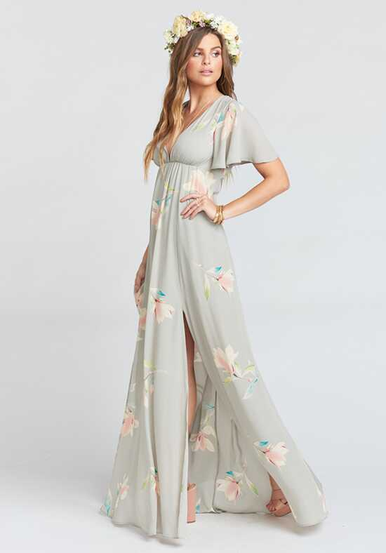 Show Me Your Mumu Faye Flutter Maxi Dress - Lily Showers V-Neck Bridesmaid Dress