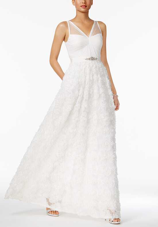 Adrianna Papell Wedding Dresses Adrianna Papell Embellished Floral Applique Illusion Gown A-Line Wedding Dress