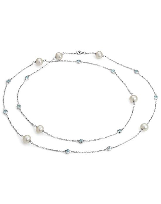 Blue Nile Freshwater Cultured Pearl Necklace with Blue Topaz Wedding Necklace photo