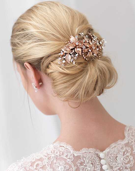 USABride Charlotte Rose Gold Floral Comb TC-2288-RG Gold, Pink, Champagne Pins, Combs + Clip