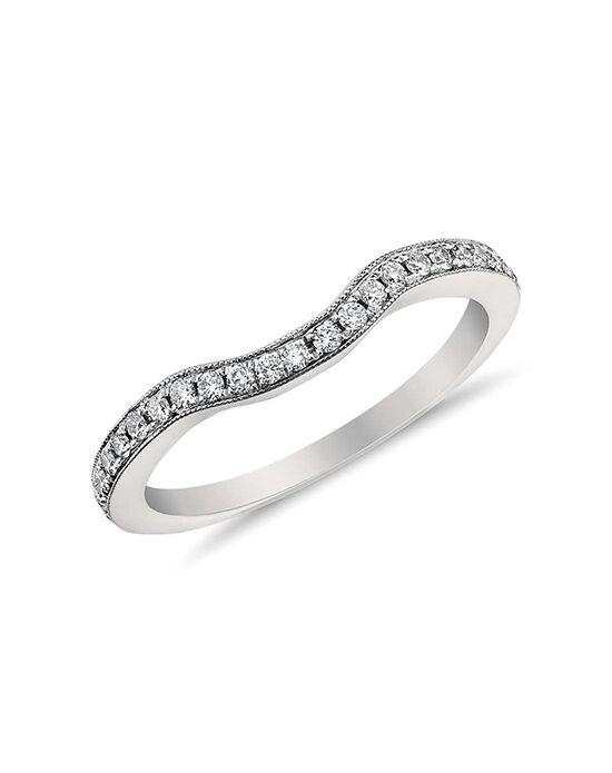 Monique Lhuillier Fine Jewelry Curved Pavé Diamond Ring Platinum Wedding