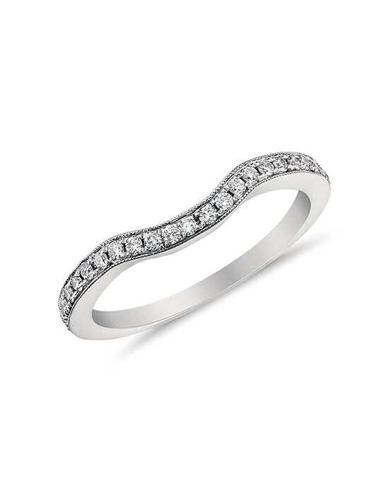 Monique Lhuillier Fine Jewelry Curved Pavé Diamond Ring Platinum Wedding Ring