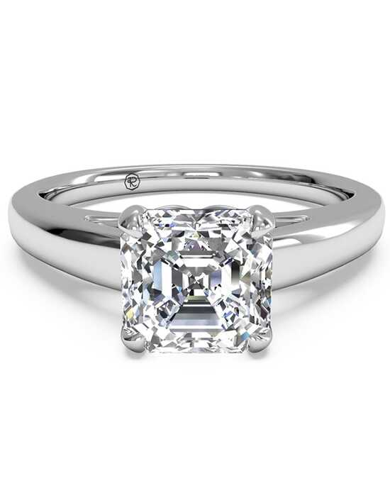 Ritani Solitaire Diamond Cathedral Engagement Ring - in 14kt White Gold for a Asscher Center Stone Engagement Ring photo