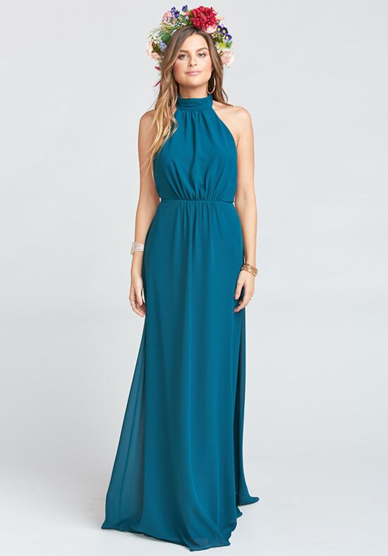 Show Me Your Mumu Collette Collar Dress - Deep Jade Chiffon Halter Bridesmaid Dress