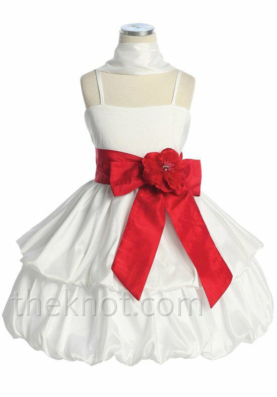 Pink Princess D3320 Red Flower Girl Dress