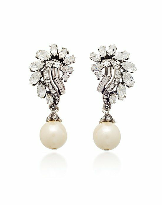 Thomas Laine Ben-Amun Bridal Crystal Garland and Pearl Drop Earrings Wedding Earring photo