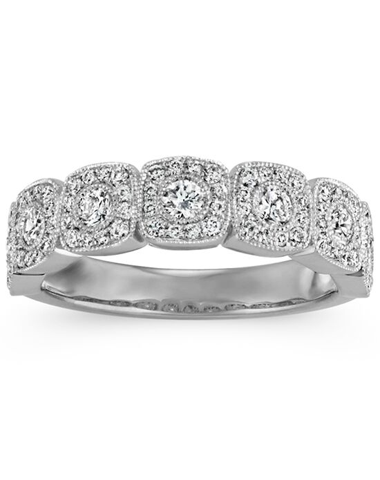Shane Co. Vintage Diamond Wedding Band with Milgrain Detail White Gold Wedding Ring
