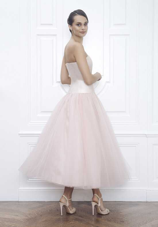 Jane Summers Anna Claire Blush Silk & Tulle Strapless Tea Length Wedding Dress Ball Gown Wedding Dress