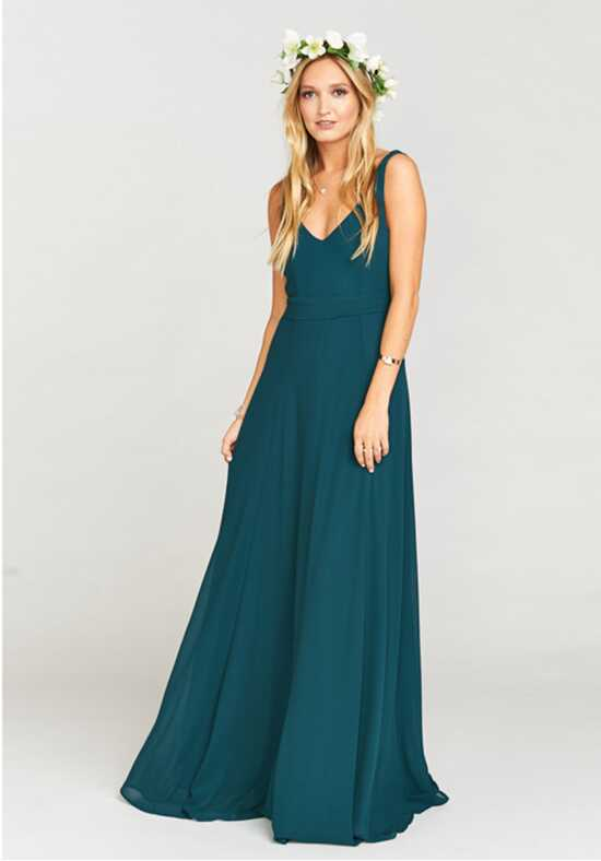 Show Me Your Mumu Jenn Maxi Dress - Deep Jade Chiffon V-Neck Bridesmaid Dress