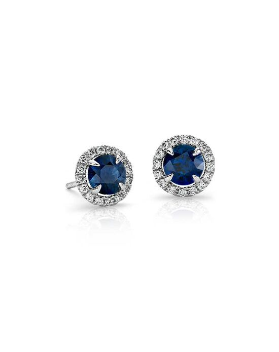 Blue Nile Sapphire and Micropavé Diamond Stud Earrings Wedding Earring photo