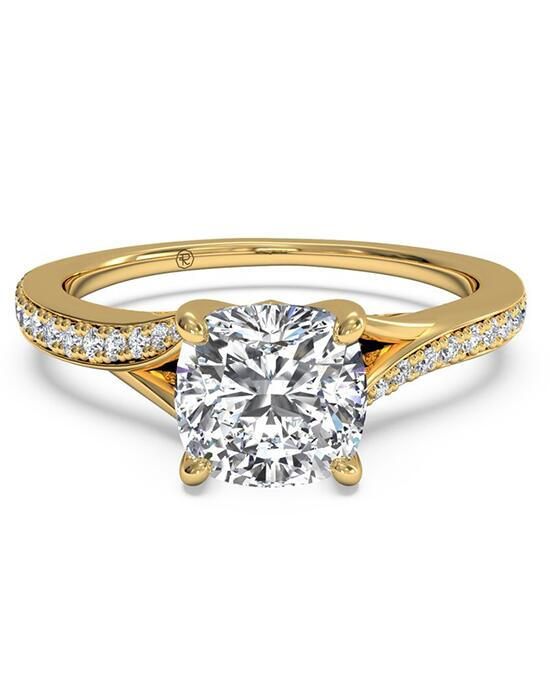 Ritani Modern Bypass Micropavé Diamond Band Engagement Ring - in 18kt Yellow Gold - (0.19 CTW) for a Cushion Center Stone Engagement Ring photo