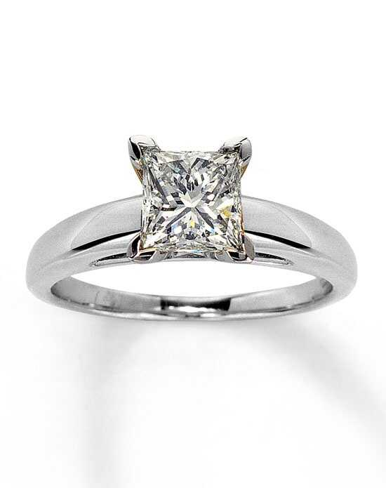 Kay Jewelers Diamond Solitaire Ring 1 1 2 ct Princess Cut 14K White Gold 1612