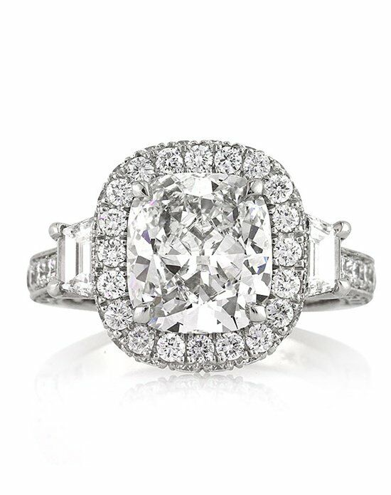 Mark Broumand 3.90ct Cushion Cut Diamond Engagement Anninversary Ring Platinum Wedding Ring