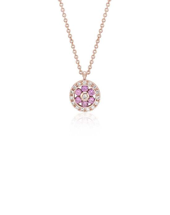 Blue Nile Pink Sapphire and Diamond Circle Pendant Wedding Necklace photo