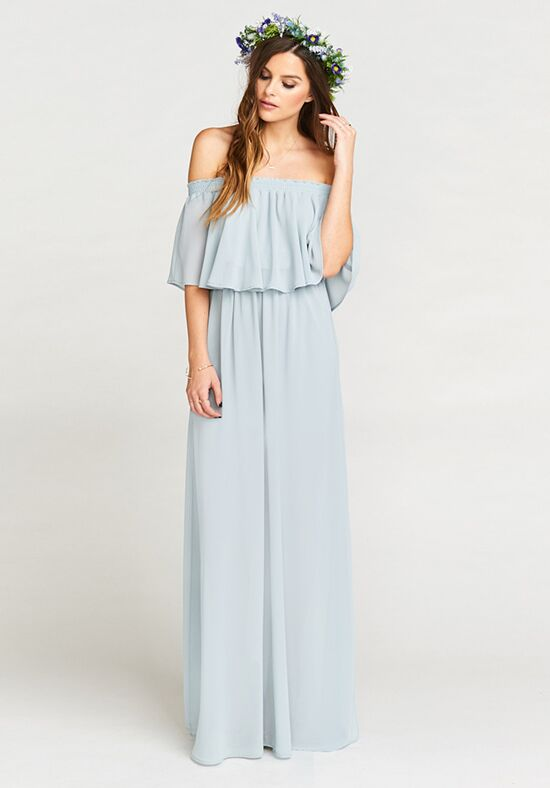 Show Me Your Mumu Hacienda Maxi Dress - Steel Blue Chiffon Off the Shoulder Bridesmaid Dress