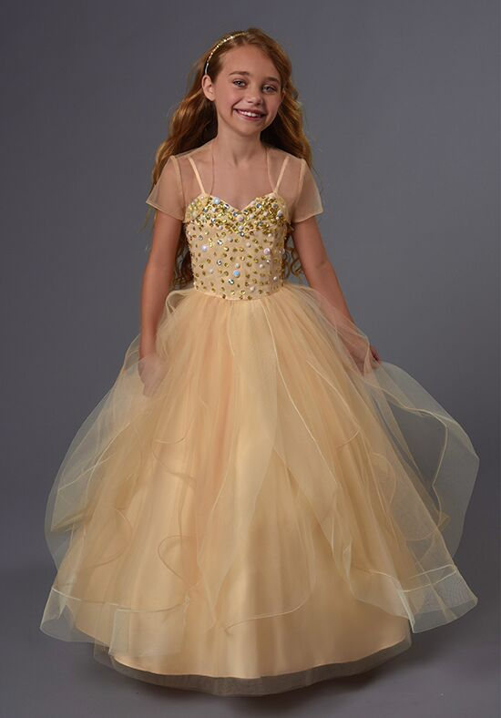 Cupids by Mary's F566 Champagne Flower Girl Dress
