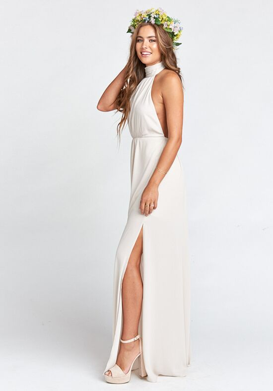 Show Me Your Mumu Collette Collar Dress - Show Me the Ring Crisp Halter Bridesmaid Dress