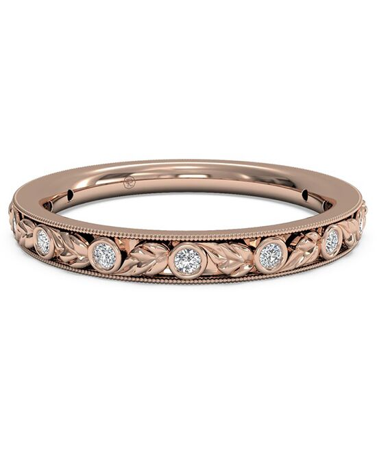 Ritani Women's Hand-Carved Grecian Diamond Wedding Band - in 18kt Rose Gold - (0.09 CTW) Rose Gold Wedding Ring