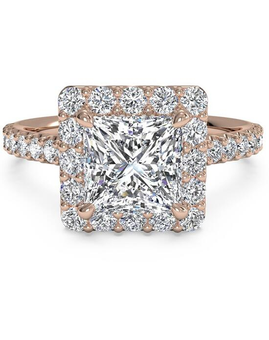 Ritani French-Set Halo Diamond Band Engagement Ring - in 18kt Rose Gold (0.45 CTW) for a Princess Center Stone Engagement Ring photo