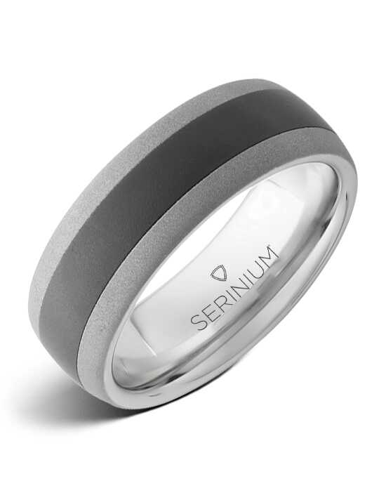 Serinium® Collection Counterpoint Sand — Serinium® & Black Ceramic Ring-RMSA002212 Serinium® Wedding Ring