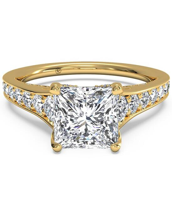 Ritani Tapered Pavé Diamond Band Engagement Ring - in 18kt Yellow Gold (0.48 CTW) for a Princess Center Stone Engagement Ring photo