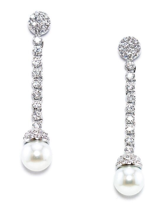 Anna Bellagio HADDON CUBIC ZIRCONIA AND PEARL DROP EARRING Wedding Earring photo