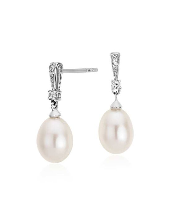 Blue Nile Freshwater Cultured Pearl and White Topaz Drop Earrings Wedding Earring photo