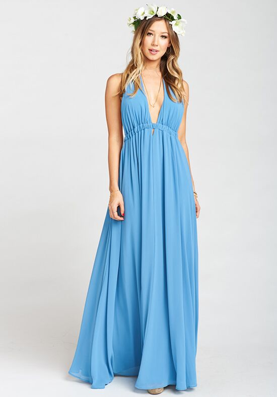 Show Me Your Mumu Luna Halter Dress - Coastal Blue Chiffon Halter Bridesmaid Dress