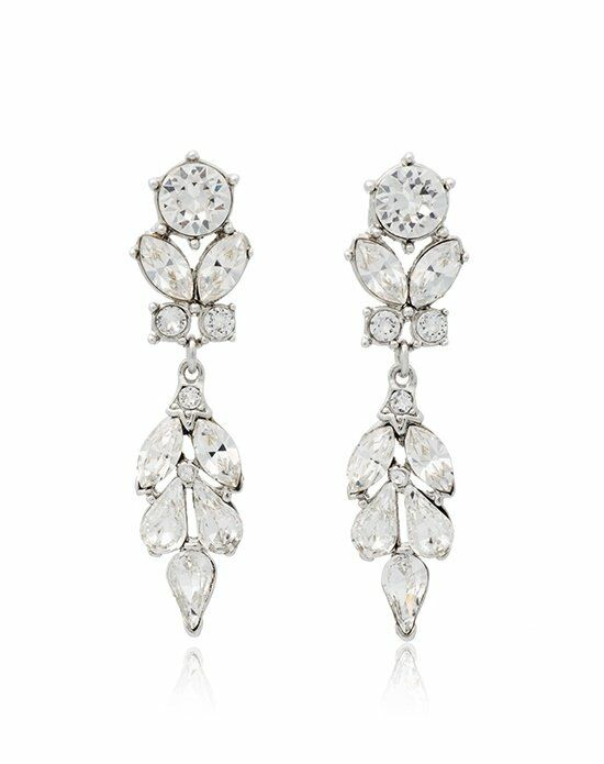 Thomas Laine Ben-Amun Bridal Silver Crystal Vine Drop Earrings Wedding Earring photo