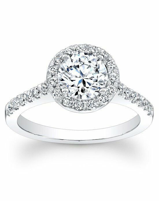 Since1910 Round Pave Halo Diamond Engagement Ring White Gold Wedding Ring