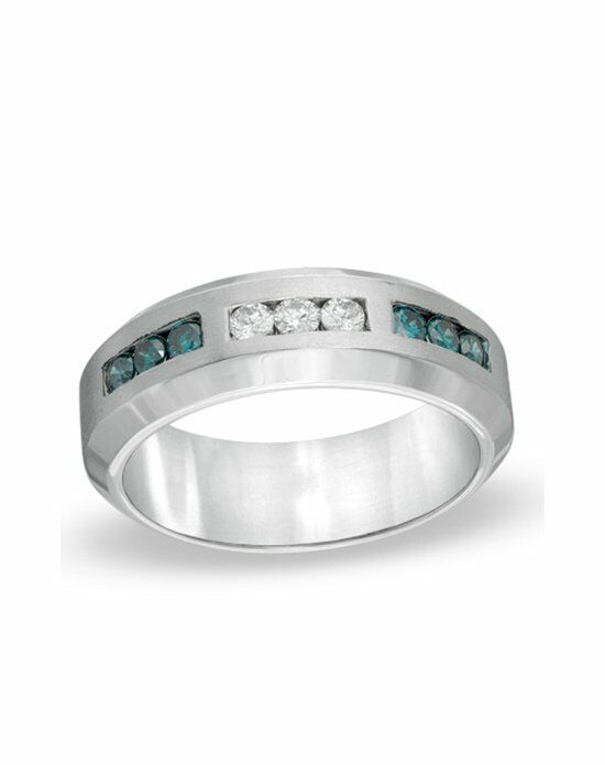 zales mens 13 ct tw enhanced blue and white diamond anniversary ring - Zales Mens Wedding Rings
