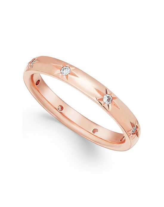 Macy's Fine Jewelry Star by Diamond Wedding Band in 18k Rose Gold (1/8 ct t.w.) Rose Gold Wedding Ring
