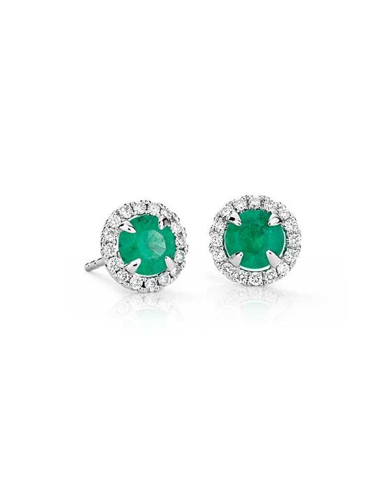 Blue Nile Emerald and Diamond Micropavé Earrings Wedding Earring photo