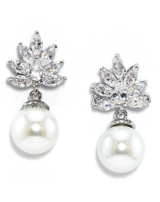 Anna Bellagio KINZY FLORAL CUBIC ZIRCONIA AND FRESHWATER PEARL EARRING Wedding Earring photo